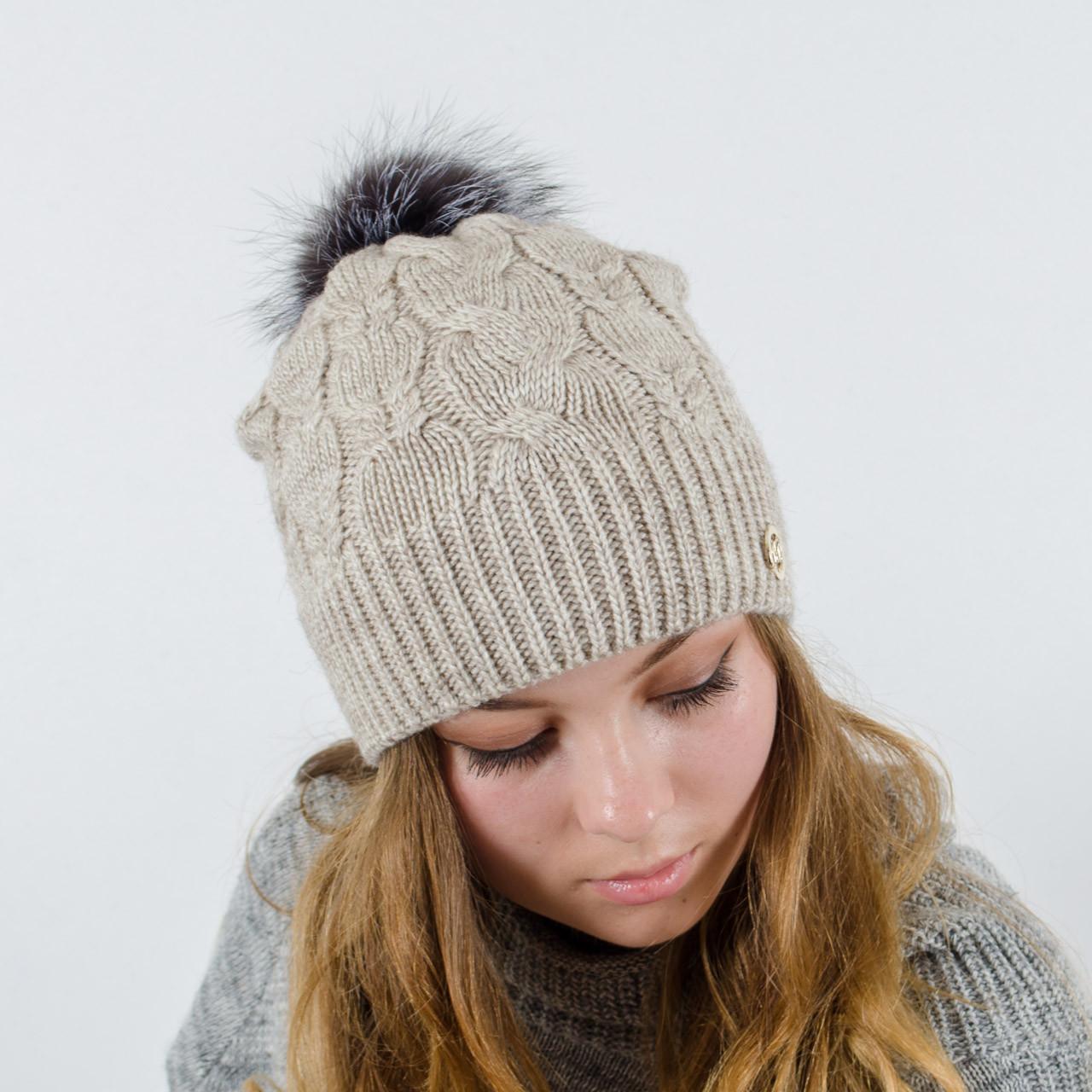 """Женская шапка с натуральным помпоном, """"Рузана""""(Лен)"""