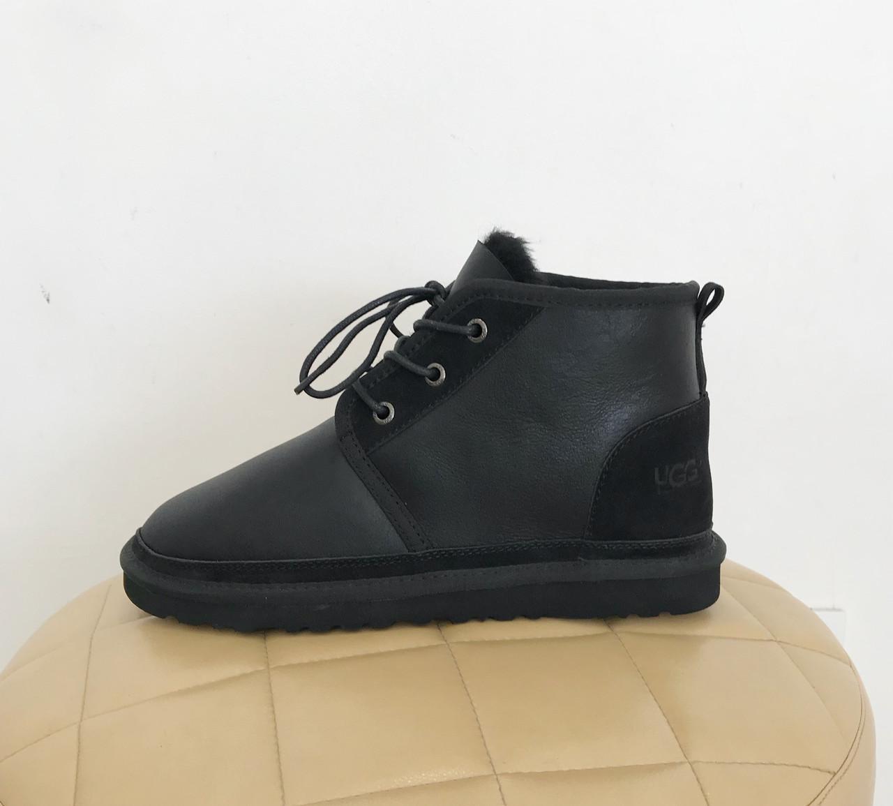 UGG Men's Neumel - Metallic Black Угги мужские на шнурках черные обливные