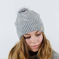 """Женская шапка с натуральным помпоном, """"Рузана""""(Серый)"""