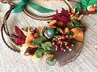 Агатовое колье, Колье ручной работы с рябиной, Осенняя коллекция украшений MGS