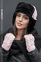 Женский комплект зимний шапка+митенки