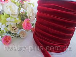 Лента бархатная, 1 см, цвет бордовый (марсала)