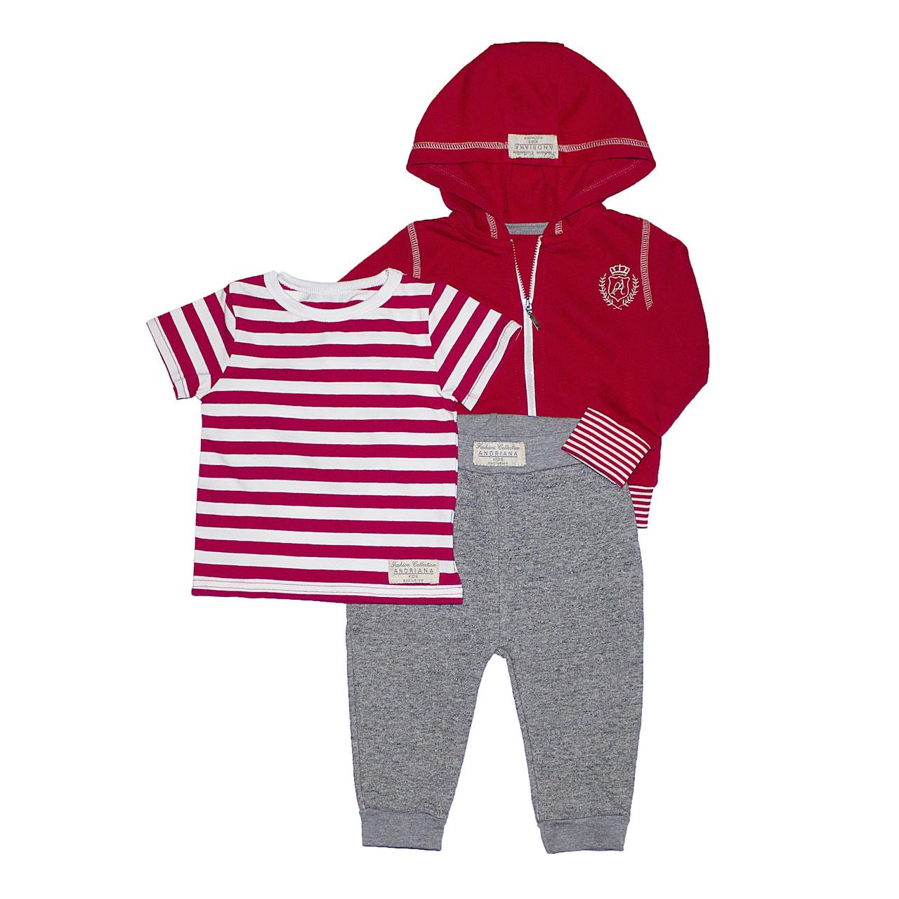 Теплый костюм тройка 1-4 года Andriana Kids красно-серый