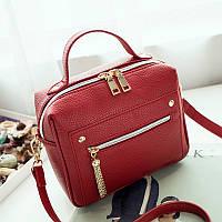 Женская сумка красная небольшая с молниями