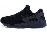 Зимние мужские кроссовки Nike Air Huarache All Black, на меху