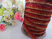Лента бархатная, 1 см, цвет красно-коричневая с люрексом, фото 1