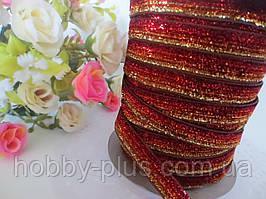Лента бархатная, 1 см, цвет красно-коричневая с люрексом