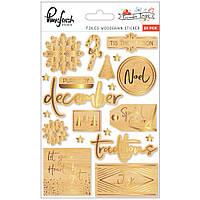 Наклейки дерев'яні з фольгуванням - Pinkfresh Studio - December Days