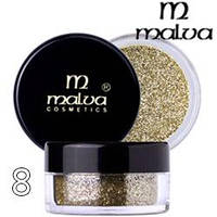 Malva - Пигменты M-491 тени для век Dramatic Chrome Eyeshadow Тон 08 shimmer light gold блестки шиммер