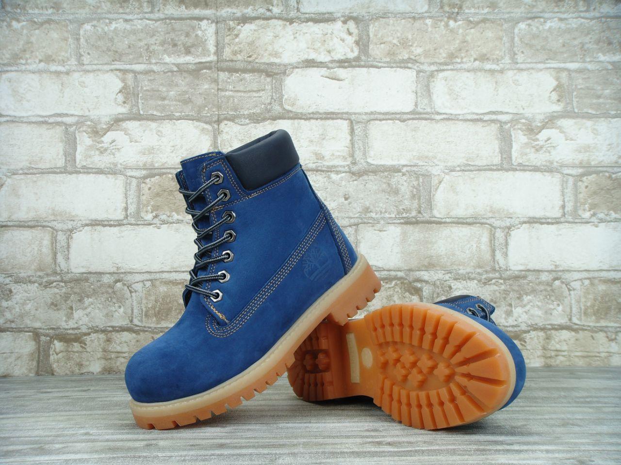 Зимние ботинки Timberland Blue, женские ботинки с натуральным мехом. ТОП Реплика ААА класса.