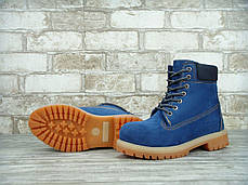 Зимние ботинки Timberland Blue, женские ботинки с натуральным мехом. ТОП Реплика ААА класса., фото 2