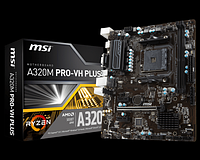 Мат.плата AM4 (A320) MSI A320M PRO-VH PLUS, A320, 2xDDR4, Int.Video(CPU), 4xSATA3, 1xPCI-E 16x 3.0,