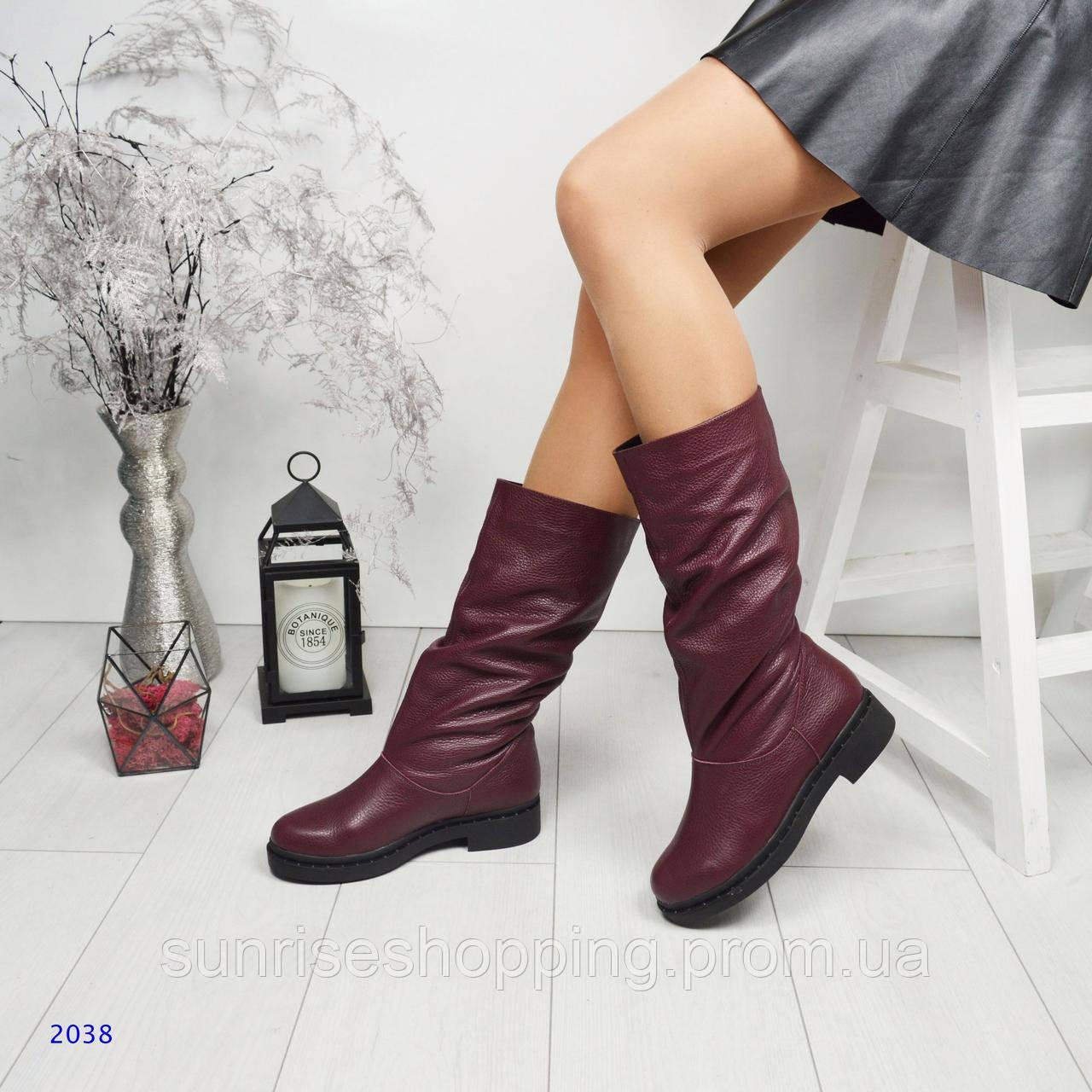 9a251c57bf39 Зимние натуральные кожаные сапоги-трубы (без змейки), цвет марсала ...