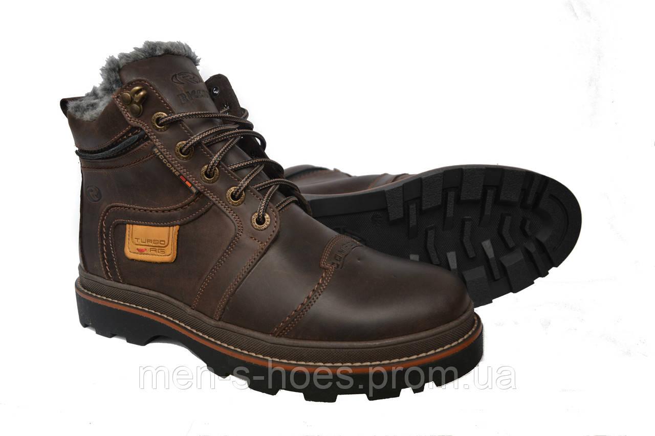 Кожаные мужские зимние ботинки Riccone Brown