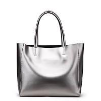Женская сумка кожаная цвет метал серебро