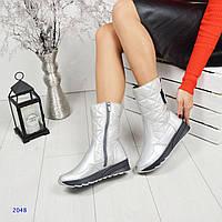 Зимние кожаные сапоги, дутики на молнии и липучке серебристого цвета