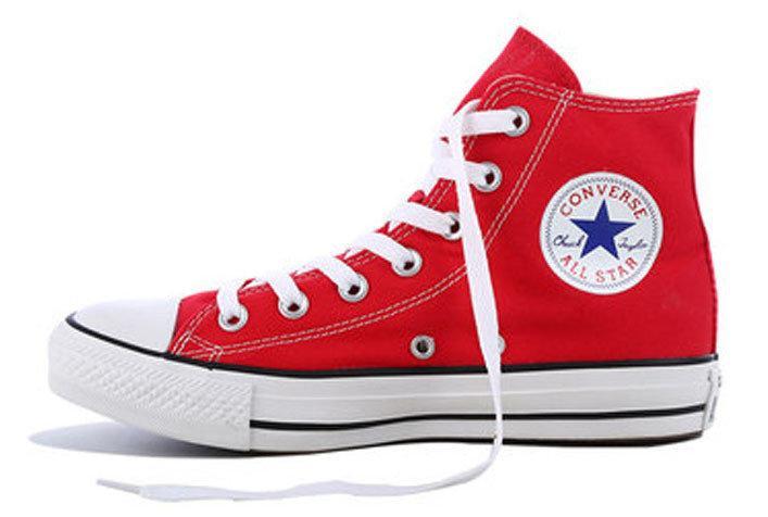 Женские кеды Converse All Star High красные, конверс. ТОП Реплика ААА класса.