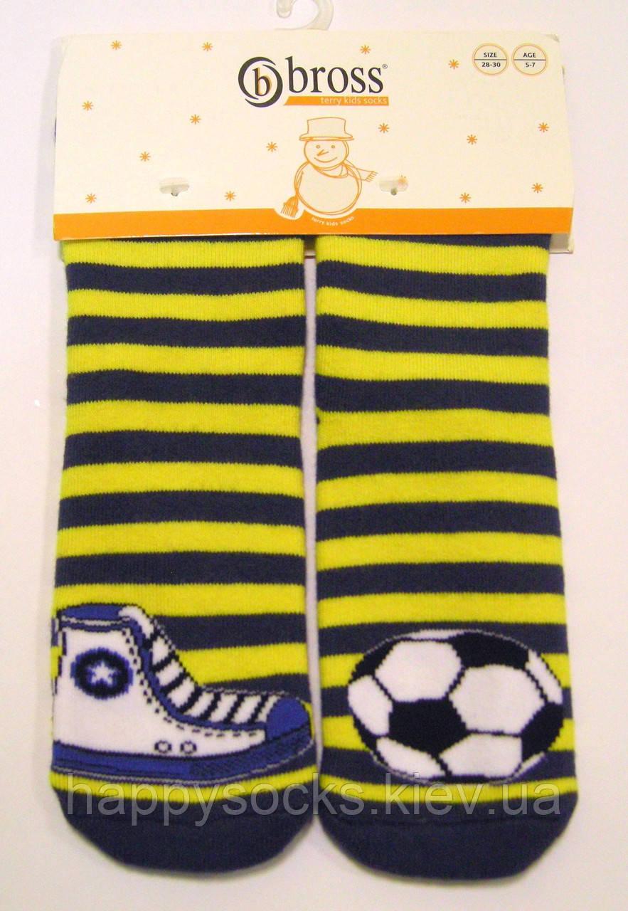 Махровые цветные носки с тормозками детские в полоску