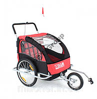 Туристический велотрейлер (велоприцеп) 2 пассажирский JOGGER 2in1 red