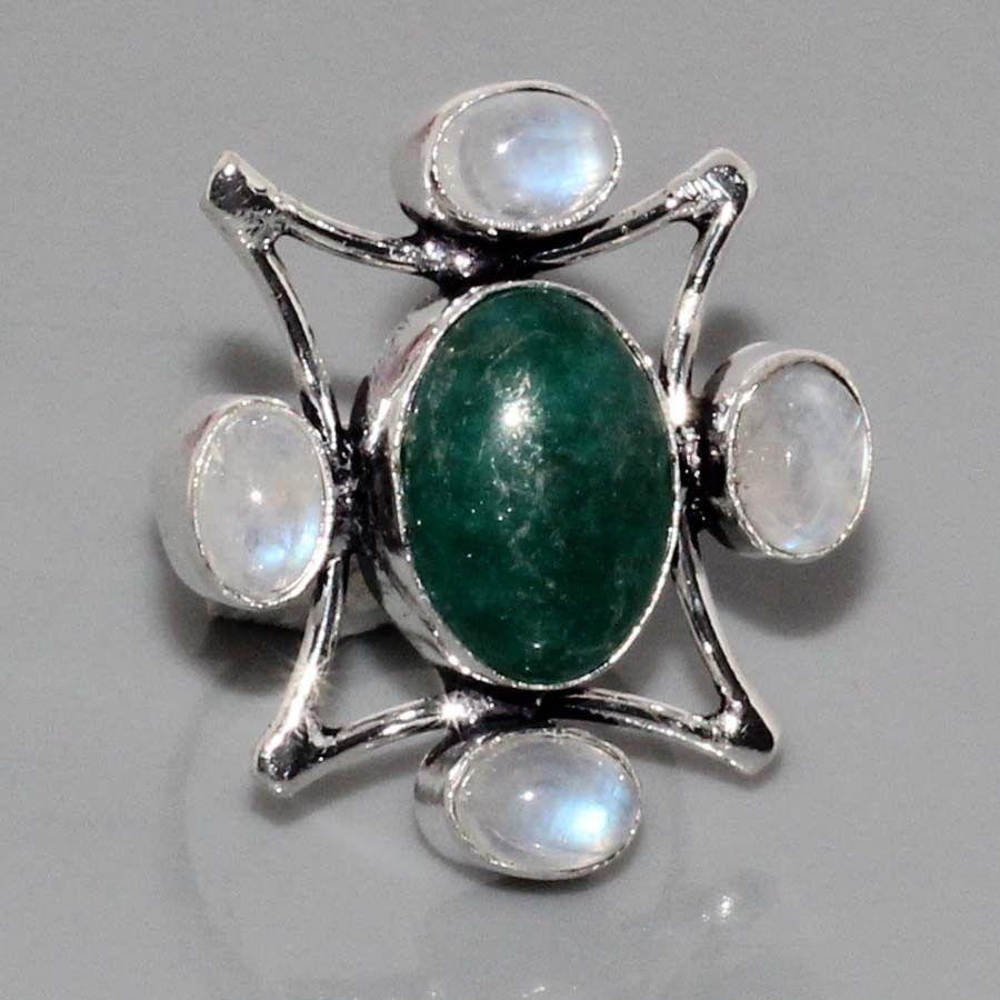 БРОНЬ Натуральный нефрит лунный камень адуляр в серебре кольцо с нефритом лунным камнем 17,5-18 размер Индия