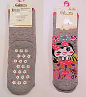 Махровые носки для девочки с тормозками серого цвета