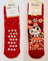 Детские махровые носки со стопперами для девочки красного цвета