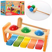 Детская Деревянная Игрушка Ксилофон MD 0941, ксилофон стучалка 0941