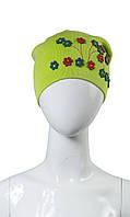 Детская шапка для девочки салатовая