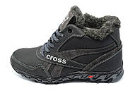 Кроссовки зимние на меху подростковые   12 Cross Fit Black Gray
