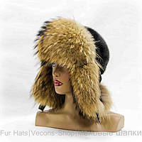Зимняя шапка-ушанка из меха норки и енота.