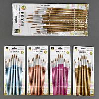 Кисточки для рисования 818-12 А / 555-541 (240) 12шт в упаковке, 5 цветов