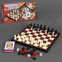 Шахматы 4в1 9841 (48) с картами, в коробке