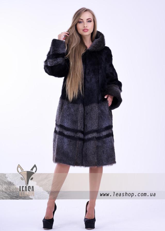Женская шуба из нутрии серебристо черного цвета ФОТО