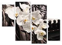 Модульная картина белая орхидея 3Д