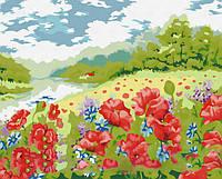 Поле маков, серия Пейзаж, рисование по номерам, 40 х 50 см, Идейка