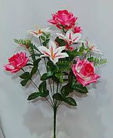 С-357 Роза+лилия 10 голов 45х9 см, фото 1