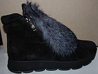 Молодежные зимние ботинки с ушами черные, замшевые ботинки зимние от производителя модель УН418-3
