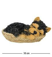 Статуэтка Собачка Йорк в корзине 16 см