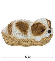 Статуэтка Собака Ши-цу в корзине 16 см