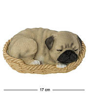 Статуэтка Собака Мопс в корзине 16 см