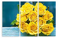 Модульная картина букет желтых роз