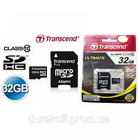 Карта памяти Transcend microSD 32GB class 10 с SD