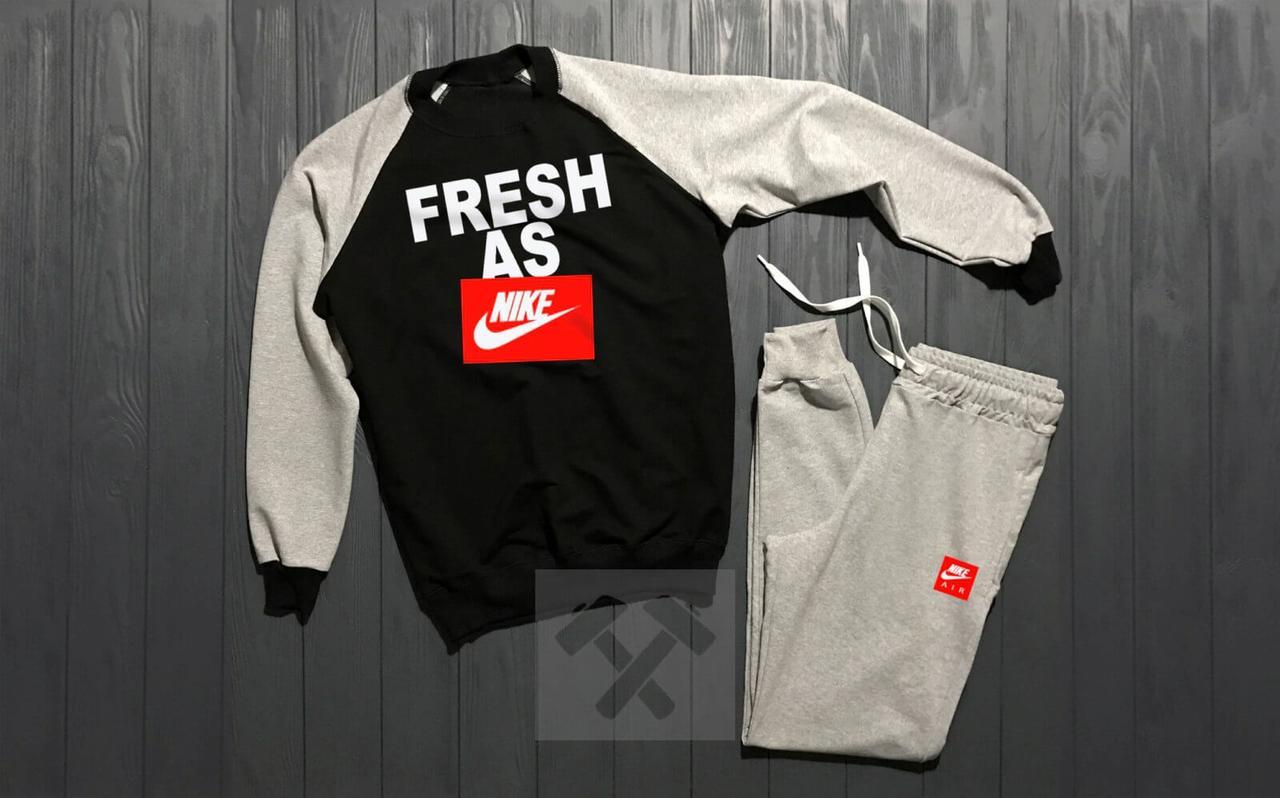 Зимний Мужской спортивный костюм Nike Fresh As черно-серого цвета с красным логотипом
