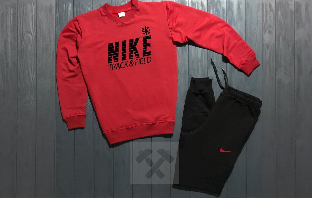 Зимний Мужской спортивный костюм Nike красный верх черный низ