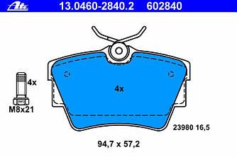 Гальмівні колодки задні на Renault Trafic 2001-> — ATE (Німеччина) - 13.0460-2840.2