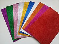 Фоамиран с глитером клеевой набор 10 цветов, фото 1