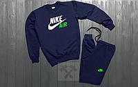 Зимний Мужской спортивный костюм Nike Air синего цвета с белым логотипом