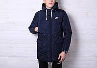 Куртка зимняя теплая, парка мужская, до - 25 ,синий Nike