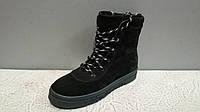 Женские зимние высокие ботинки на шнурках цвет черный