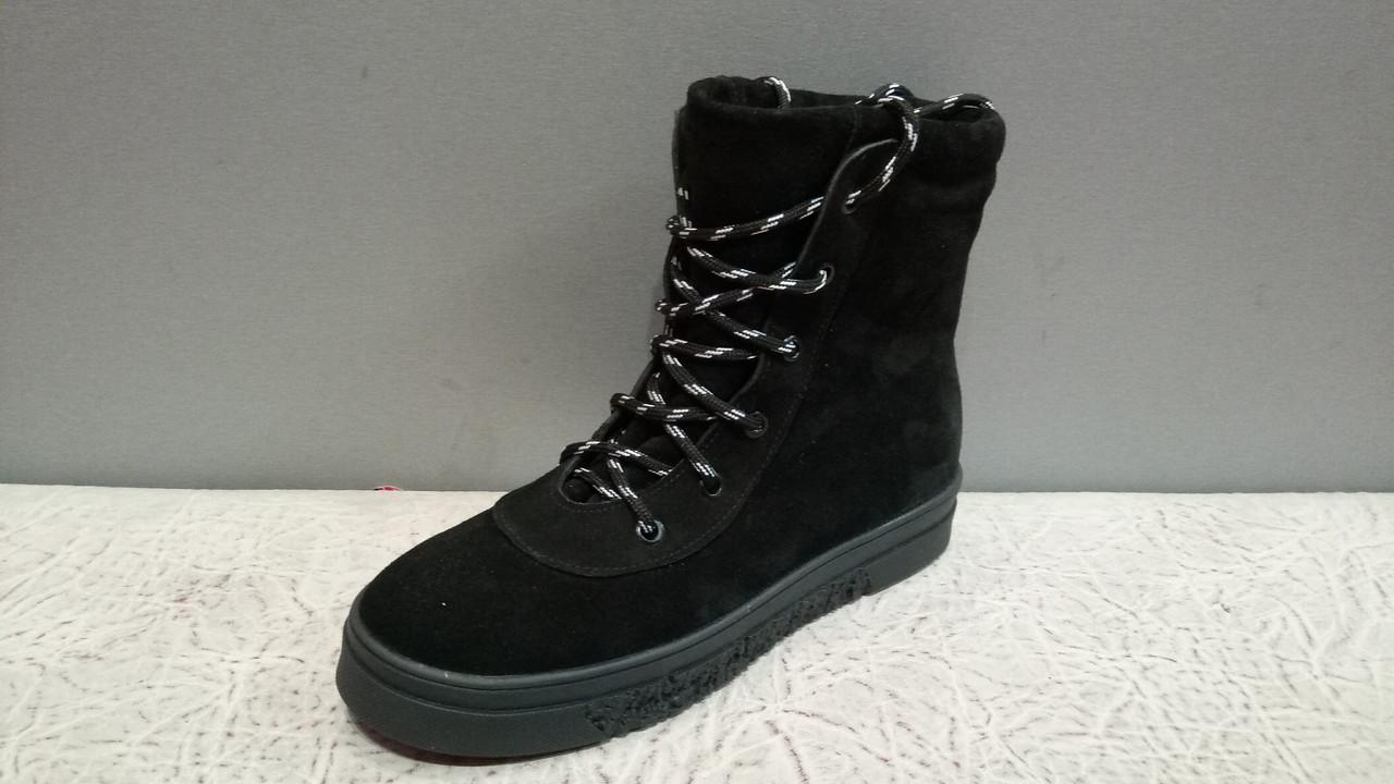 5c5b1297 Женские зимние высокие ботинки на шнурках цвет черный - Женская обувь от  производителей в Харькове